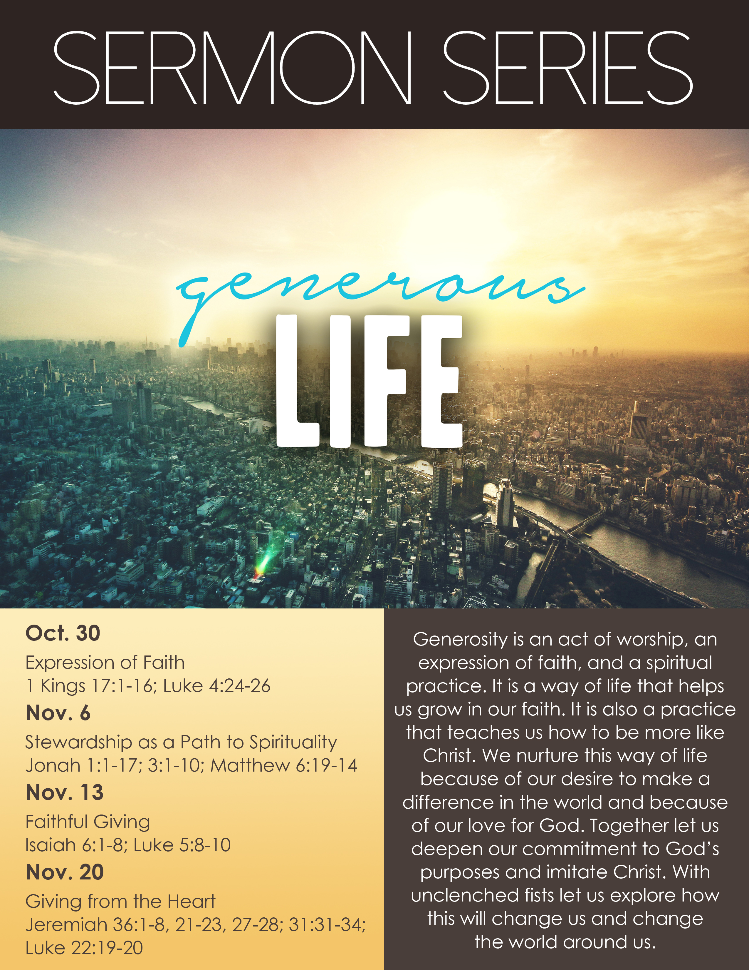 Sermon For The Feast Of St Michael All Angels: Sermon Series: GENEROUS LIFE